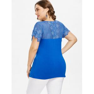 Plus Size V-neck Crochet Yoke T-shirt -