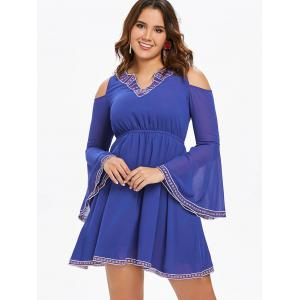 Cut Out Bell Sleeve Flare Dress -