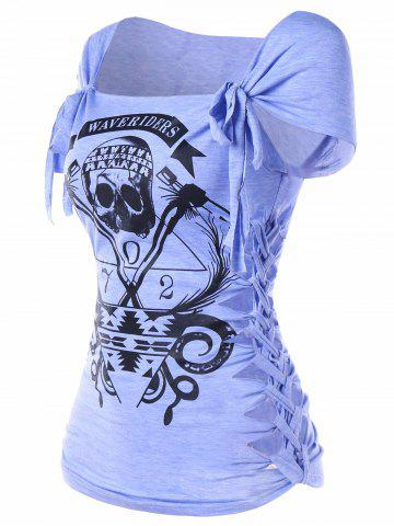 Affordable Braided Shredding Skull Print Graphic Tee