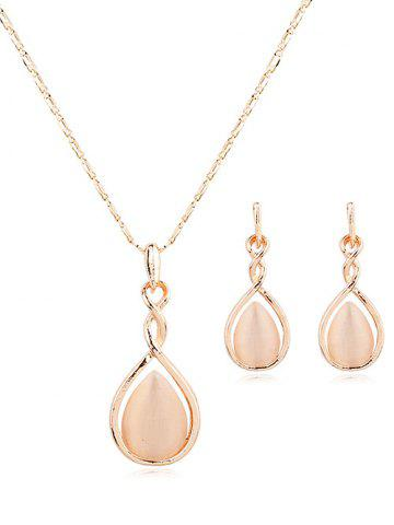 New Hollow Out Water Drop Pendant Necklace Drop Earrings Set