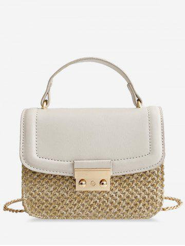 Sale Straw Patchwork Crossbody Chain Bag