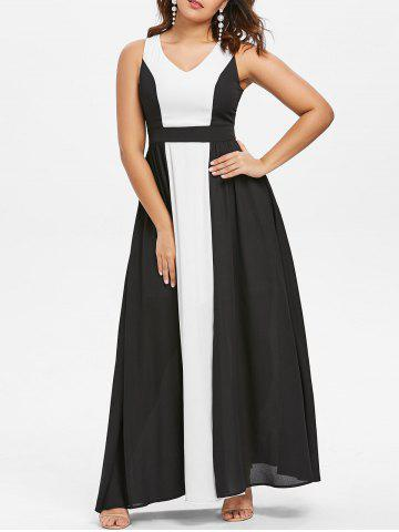 Affordable Color Block Sleeveless Maxi Dress