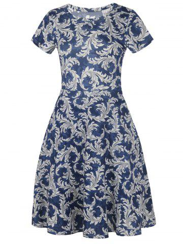 Outfits Printed Round Neck Vintage Fit and Flare Dress