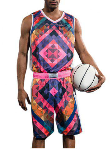 Outfits Geometric Print Basketball Uniform Jersey and Shorts