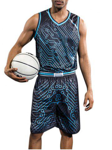 Cheap Quick Dry Circle Print Basketball Suit