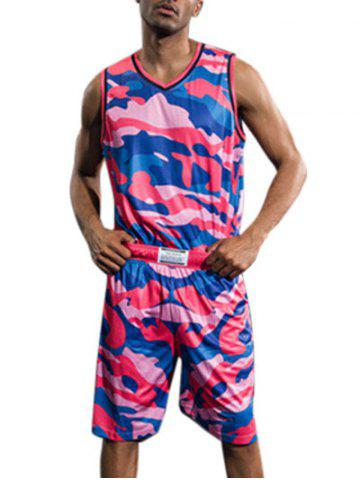 Chic Quick Dry Colorful Camo Print Basketball Suit