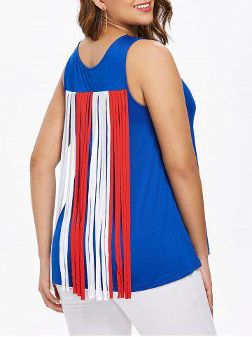 Fancy Breast Pocket Back Tassel Insert Tank Top