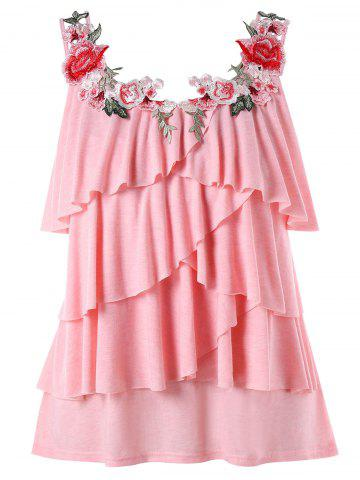 Affordable Plus Size Embroidery Tiered Ruffle Tank Top