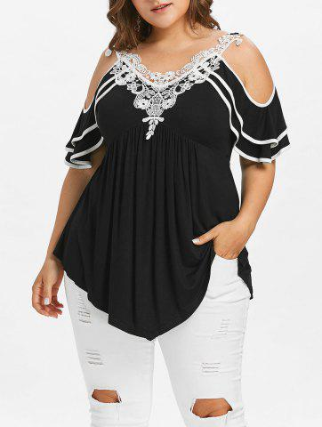 Fashion Plus Size Tiered Sleeve Cold Shoulder T-shirt
