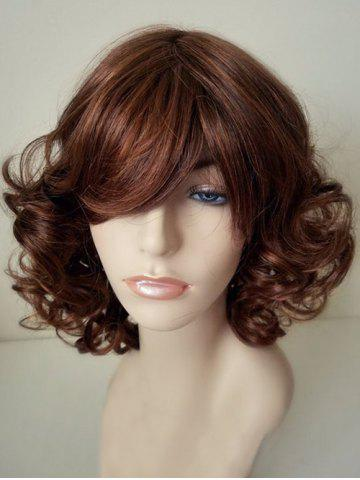 Unique Short Side Bang Fluffy Curly Capless Synthetic Wig