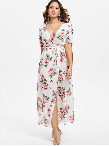 Plunging Neckline Floral Maxi Surplice Dress
