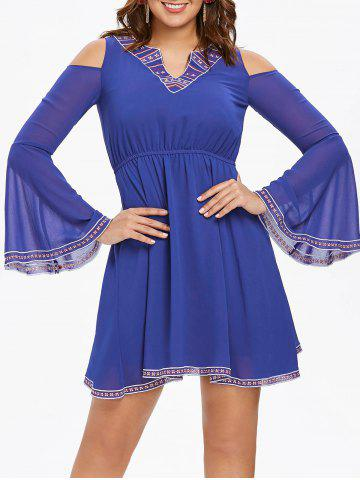 Sale Cut Out Bell Sleeve Flare Dress
