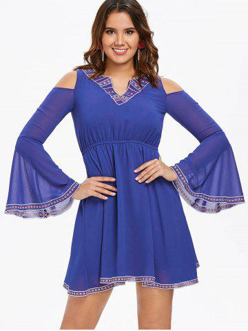 Cut Out Bell Sleeve Flare Dress