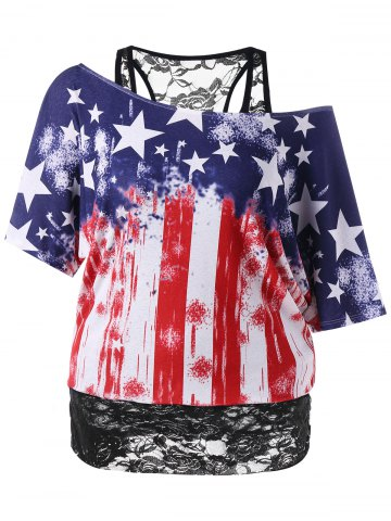 American Flag Plus Size Lace Hemline T-shirt - 2xl