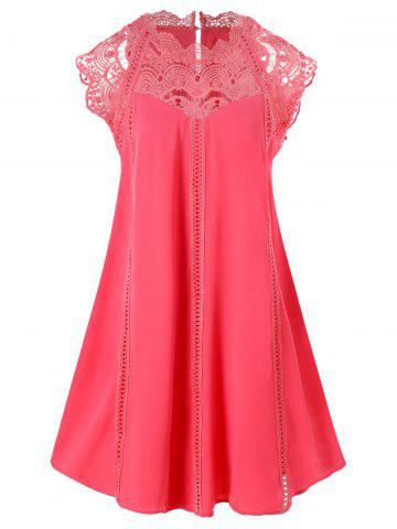 Lace Panel Mini Trapeze Dress