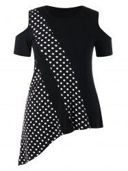 Plus Size Asymmetrical Polka Dot T-shirt -