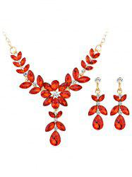 Coloured Gemstone Floral Pendant Necklace Earrings Set -