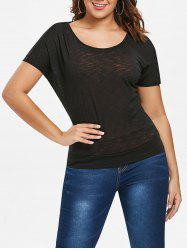 Cut Out Back Batwing Sleeve T-shirt -