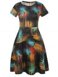 Leaf Print Short Sleeve Fit and Flare Dress -