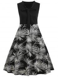 Leaf Print Sleeveless Vintage Dress -