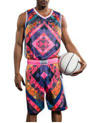 Geometric Print Basketball Uniform Jersey and Shorts -