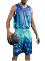Quick Dry Stars Print Basketball Suit -