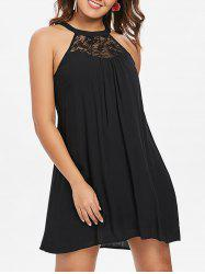 Lace Panel Bib Neck Dress -