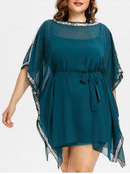 Sequin Insert Plus Size Dress With Belt -