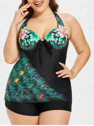 Plus Size Peacock Feather Halter Tankini Set -