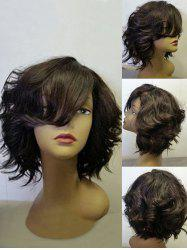 Short Inclined Bang Fluffy Wavy Synthetic Wig -