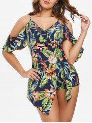 Printed Open Shoulder Cami Romper -