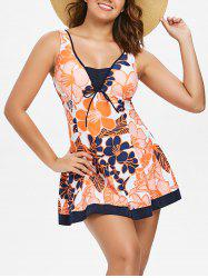 One Piece Empire Waist Print Swimwear -