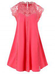 Lace Panel Mini Trapeze Dress -