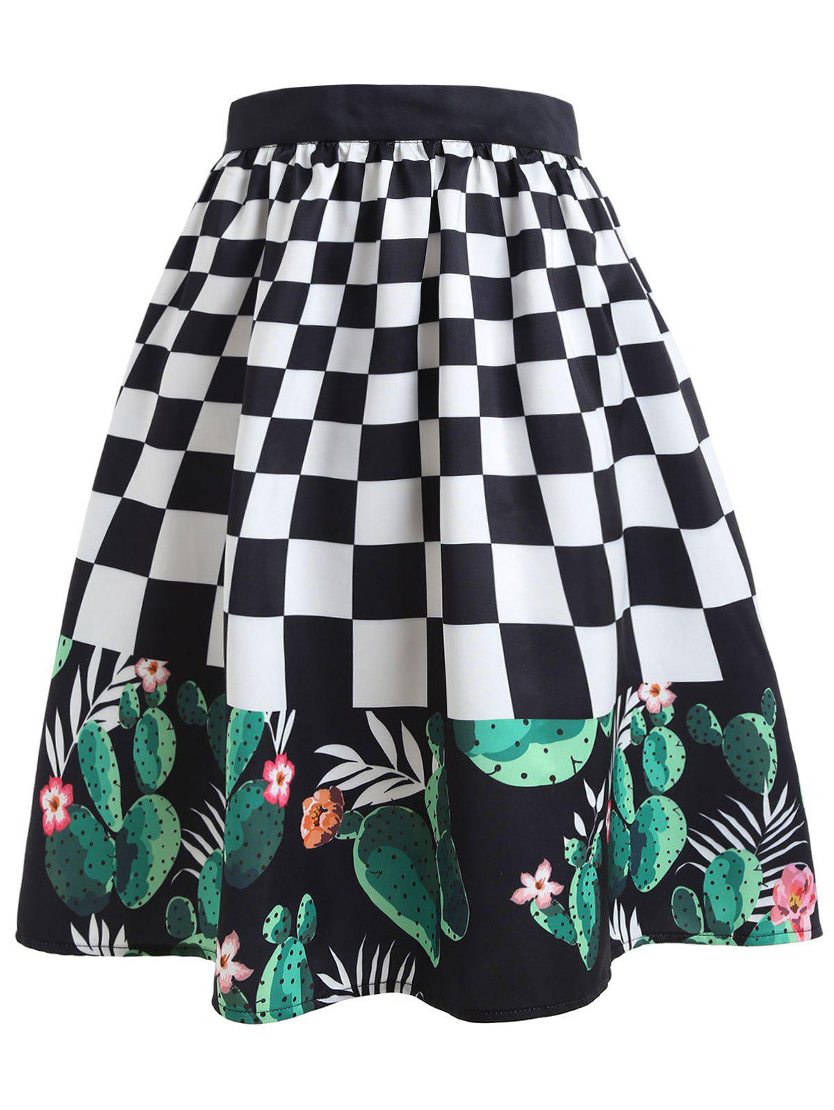 Shops Checked Cactus Print Midi Skirt