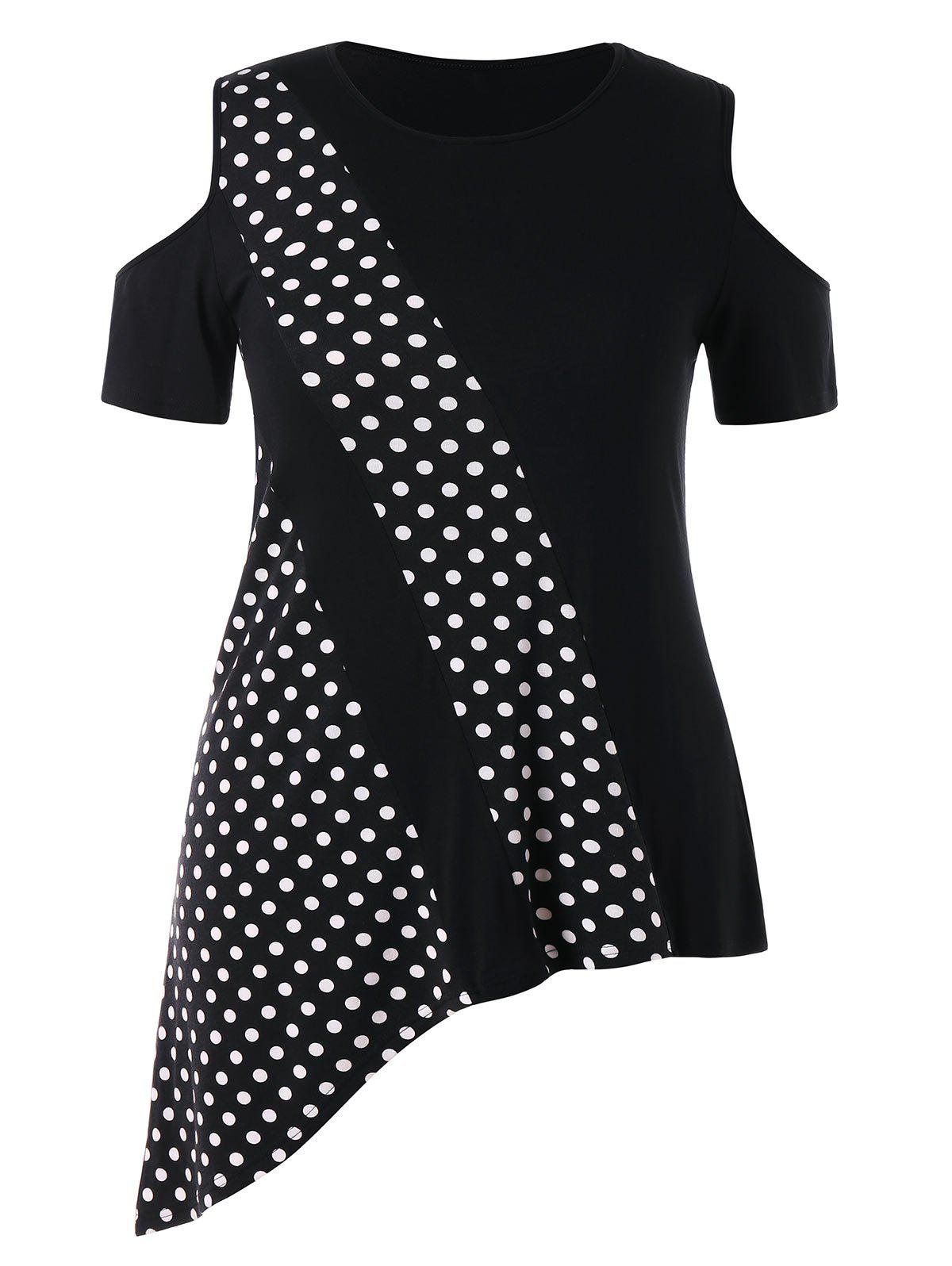 Sale Plus Size Asymmetrical Polka Dot T-shirt