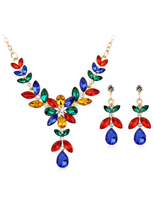 Fashion Coloured Gemstone Floral Pendant Necklace Earrings Set
