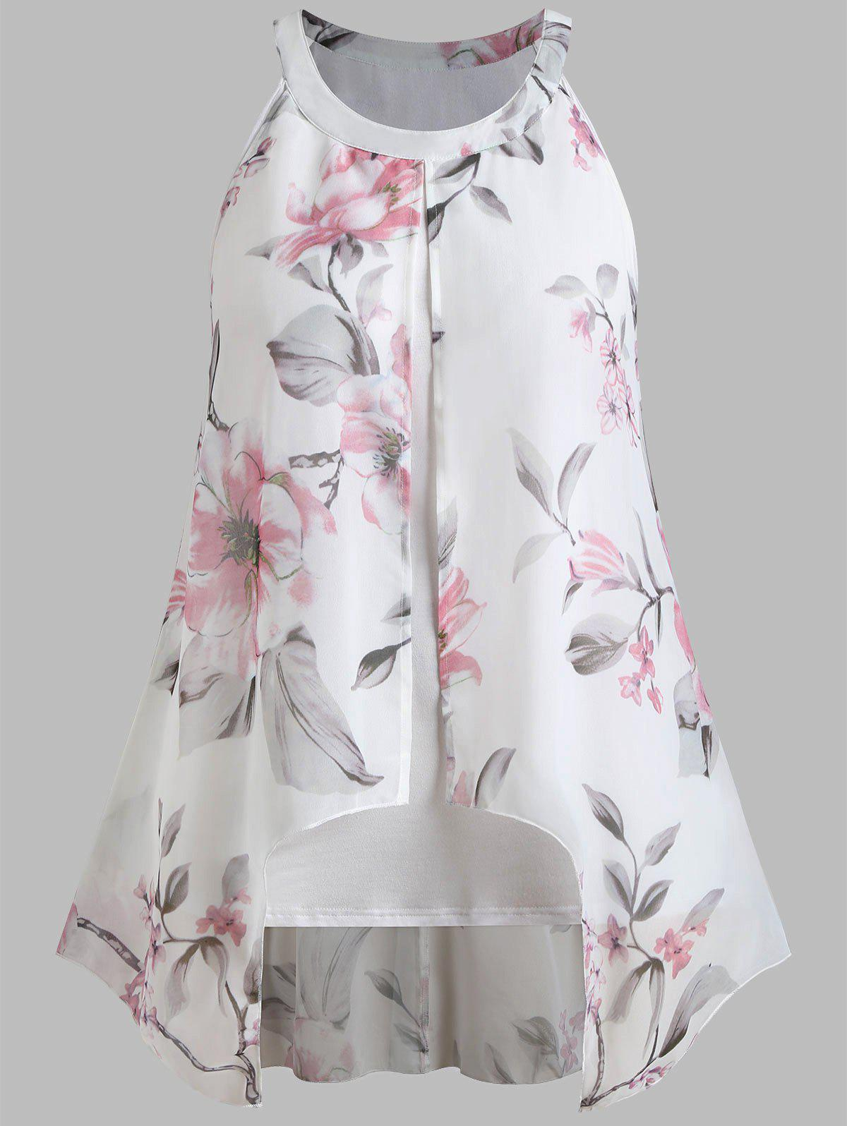 e521e523166 2019 Floral Print Plus Size Sleeveless Chiffon Blouse | Rosegal.com