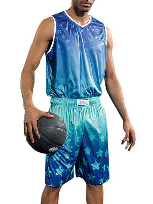 Sale Quick Dry Stars Print Basketball Suit