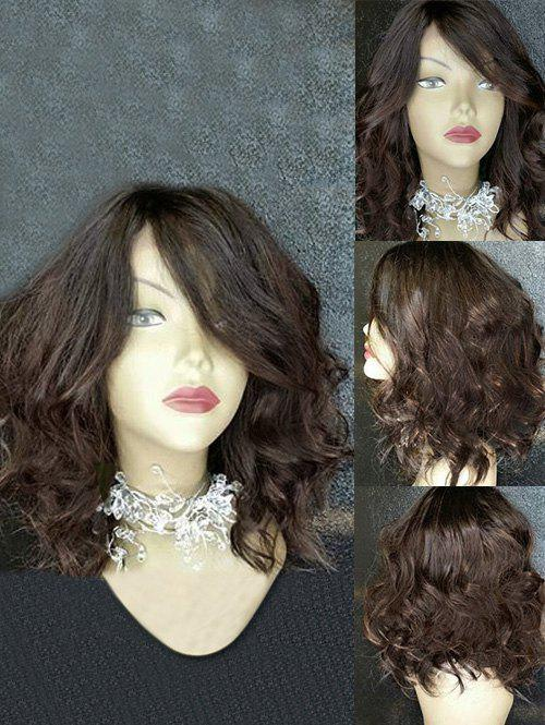 Fancy Medium Inclined Bang Colormix Wavy Synthetic Wig