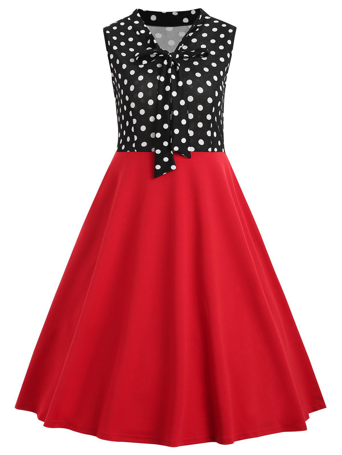 Cheap Vintage Polka Dot Insert Swing Dress