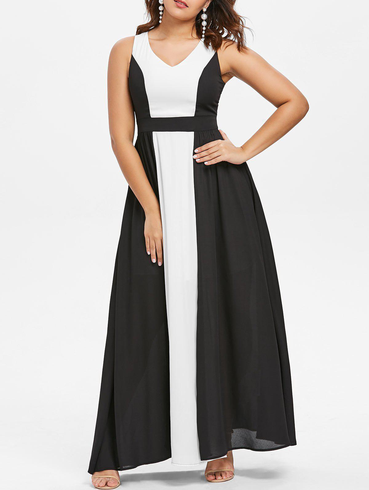 Cheap Color Block Sleeveless Maxi Dress