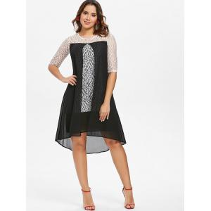 Lace See Thru Chiffon Two Tone Dress -
