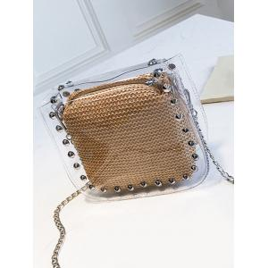 2 Pieces Clear Studs Chain Crossbody Bag Set -