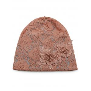Outdoor Floral Pattern Embellished Lace Beanie -