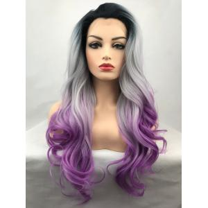 Long Free Part Ombre Wavy Lace Front Synthetic Wig -