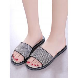 Faux Crystal Inlay Indoor Flat Slippers -