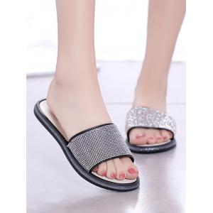 Faux Crystal Inlay Indoor Flat Slippers - BLACK Outlet Discount Shop Offer Sale Online Ost Release Dates Clearance 100% Guaranteed Cheap Sale Outlet Locations TOmiWB