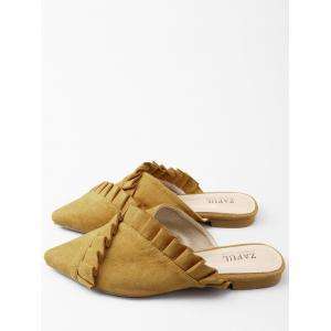 Asymmetric Ruffles Pointed Toe Mules Chaussures -
