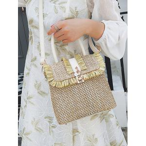 Tassel Color Block Flap Straw Leisure Handbag -