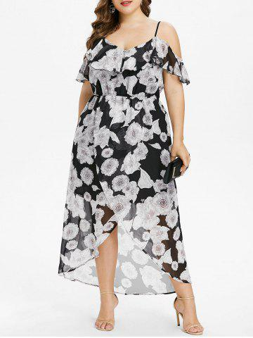 New Plus Size Ruffle Cold Shoulder Maxi Dress